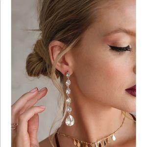 Ettika Crystallized Drop Earrings in Clear